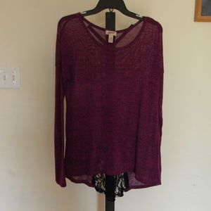 Purple Lace-backed Sweater
